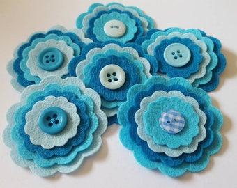 x6 Felt Flower Embellishments.Die cut flowers.layered flowers. Die cut shapes.felt craft flowers.free p&p