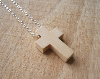 Natural wooden Cross necklace. Small Christian cross pendant. Solid wood.  Silver plated chain.