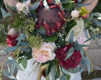 Brides Bouquet, King Protea Bouquet, Wedding Bouquet, Bridesmaid Bouquets, Boho Boquets, Boho Bride, Garden Fresh Bouquet