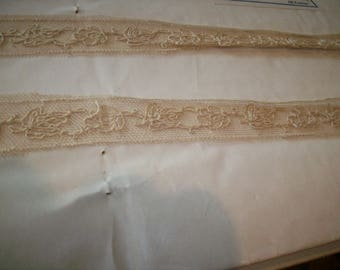 Antique lace by the yard or roll embroidered net french 1920 yardage pure cotton