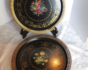 "Vintage Tole Trays Hand Painted Flowers ~  15"" Round"