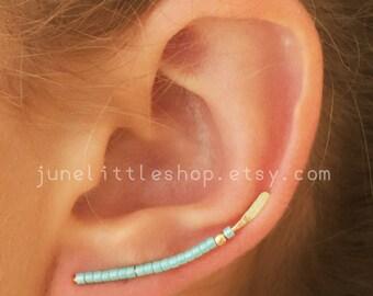ear climber, earclimbers,Turquoise ear climber earrings, gold ear climber earrings, ear jackets, earclimbers gold, Ear crawler