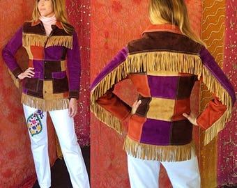 Sale Suede Fringe Jacket Suede Patchwork Jacket Diesel Vintage 80s Diesel Suede Jacket