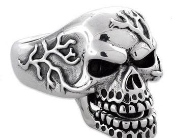 Anniversary SALE Sterling Silver 925 Mad Skull Biker Ring Made in USA
