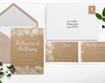 Rustic Lace Wedding Invitation - Kraft Wedding Invitation - White Prints - Vintage Lace - White Lace Trim - Rustic Wedding - Rustic Invites