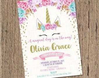 Unicorn birthday invitation, magical unicorn invite, unicorn face invitation, floral unicorn invitation, pink and gold unicorn, sleepy face
