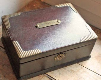 Antique French leather box jewelry, sewing box with brass name tag/ Vintage leather cartonage box