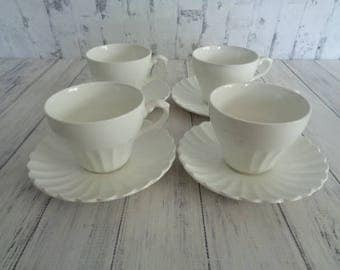 Meakin Nordic Vintage Classic White, White Cups And Saucers, Set of Four Cups and Saucers, English Ironstone