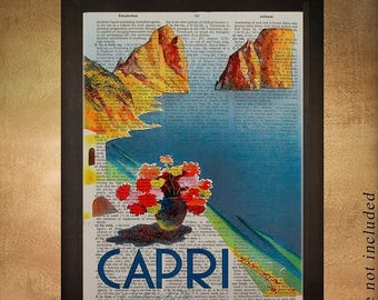 SALE-SHIPS Aug 22- Vintage Capri Italy travel poster printed on upcycled dictionary, Italy Capri Wall Art Home Decor Blue da927