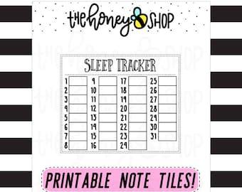 Sleep Tracker | PRINTABLE NOTE TILE
