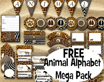 Animal Print Party Set Instant Download Printable Party Set