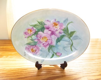 Vintage Platter~Hand Painted Platter~Peonies~Shabby Chic Platter~Cottage Chic Platter~Vintage Serving Dish