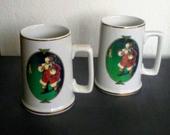 Coca Cola Mugs, Vintage Mugs, Santa Mugs, Santa Claus Mugs, Christmas Coffee Mugs, Christmas Mug Set, Collectible Mugs, Coke Mugs