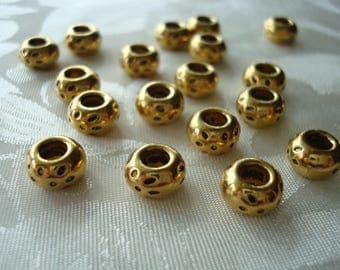30 Fine, Golden, Smooth, Heavy, Rondelle Spacers With Antiqued Leopard Spots. 8x5mm Large 2.7mm Holes! Quality Pewter. ~USPS Ship Rates