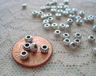 Promo! 144 Antique Silver Tiny Miniature Fluted Rondelle Spacers! 4x2mm Tiniest Vintage Style Wide Silver Lantern Spacers ~USPS Ship Rate/OR