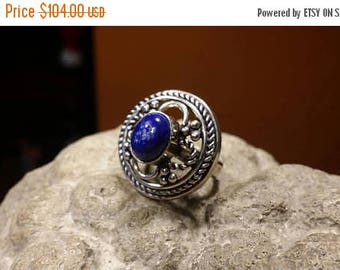 Holiday SALE 85 % OFF Lapis lazuli ring size 5 3/4  925 Sterling Silver   Ring  Gemstone