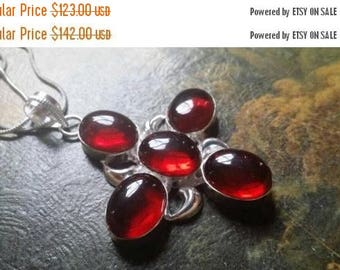 Holiday SALE 85 % OFF Garnet Necklace Chain  .925 Sterling  Silver Gemstone #EtsyGifts