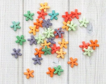Tiny Buttons - Star Flower, 36 Pieces - Small Buttons - Assorted Buttons - Craft Buttons