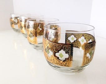 22K Gold Roly Poly Glasses/Culver, Valencia Pattern (4)