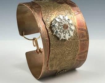 Copper Cuff with silver