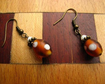 3587 -  Earrings Glass and Nacre