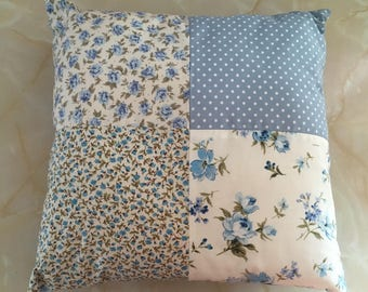 Blue floral cushion,  Blue floral pillow,