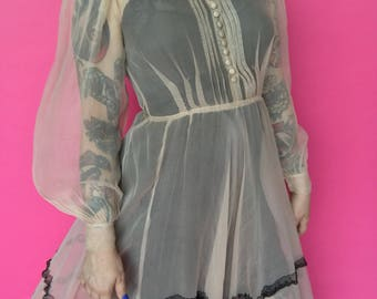 RESERVED 1930s Dress / 30s 40s Sheer Gown / 1940s Balloon Sleeve Lace Chiffon Maxi