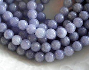 8mm Blue Quartz Gemstone Beads, Blue Stone Beads, Hole 1mm (12 beads)  Natural Quartz Gemstone, Blue Violet Stone Beads Round Smooth