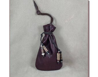 "Leather Pouches with Our from the Woods Handmade Beads, Size 6 x 9"", Color: Wine, Hand Stitched to Last, Strong Soft Leather Bag, Hang it!"