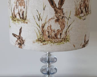 Handmade Lampshade - Woodland Hare/Rabbit - Animal Lampshade - Woodland Style - Hare Lampshade - 20cm or 25cm diameter