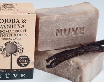 Nuve Jojoba Vanilla Soap - Handmade Aromatherapy Herbal Collection - All Natural With Olive Oil (110 gr. / 4 oz.)