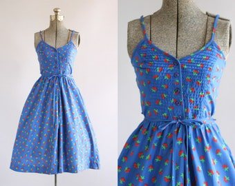 Vintage 1970s Dress / 70s Cotton Dress / Lanz Originals Blue Cherry Print Dress w/ Waist Tie XS