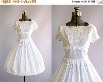BIRTHDAY SALE... Vintage 1950s Dress / 50s Cotton Dress / Carol Rodgers White Eyelet Dress w/ Shelf Bust S