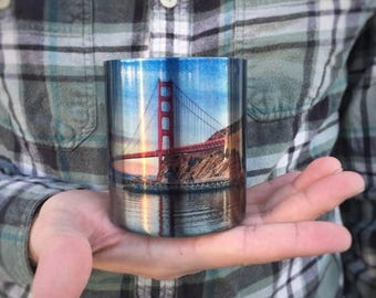 FLASH SALE San Francisco Coffee Cup / Carabiner Clip Handle / Bay Area Art / Photo on Mug / Valentines Day Gift