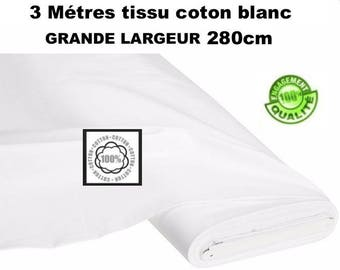 3 metre white cotton 280cm 57 CM 120 ideal grM2 threads tight weave wide tablecloth, wedding