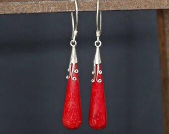 Red Coral Earrings, Sterling Silver Earrings, Coral Drops, Long Earrings, Red Earrings, Bamboo Coral, 925