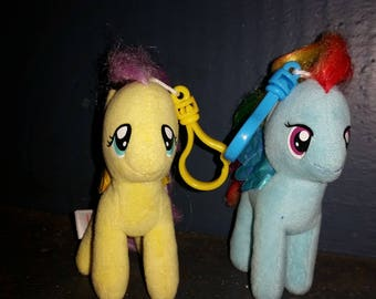 My Little Pony Yellow Pony White Pony Stuffed Animals Clip on Collectable 1980s Set of 2 ponies