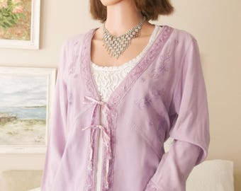 Unworn beaded lilac cardigan Embroidered lavender cardigan Embroidered lavender jacket Embroidered lilac jacket Beaded lavender cardigan 16