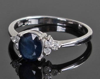 A Sapphire and Diamond 18k Gold Ring