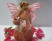 Easter Fairy Spring Sale, Garden Fairy, Fairy with Duck,  Collectable Doll, Fairy Garden Doll, Peach Fairy, Mothers Day Fairy, Fairy Decor