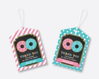 Instant Download, Donut Favor Tags, Donut Thank You Tags, Donut Gift Tags, Donut Birthday Tags, Donut Party Printable, Chalkboard (CKB.10)