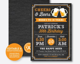 Instant Download, Editable Cheers and Beers to 30, 40, 50, 60, 70, 80 Years Birthday Invitation, Surprise Birthday Invite,Chalkboard(CAB.06)