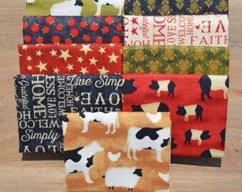 The Way Home Fat Quarter Bundle - Jennifer Pugh - Wilmington Prints - 9 fat quarters - 100% Cotton - farm animals, primitive, apples, cows