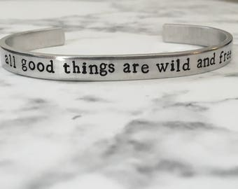 All Good Things Are Wild and Free / Henry David Thoreau / Wanderlust / Adventure / Book Lover Gift / Bookish Gift/ Free Spirit/ Gift for Her
