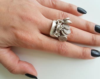 Ottoman ring//Silver plated ring/Turkish jewellery/coin/Tugra/For her