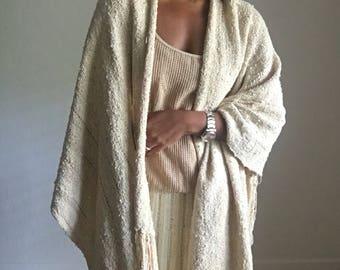 70s textile woven nubby cotton linen shawl