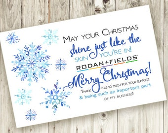 Christmas Thank You Card - Printable - Instant Download - Thankful - Snowflake - Holiday - Skin - Watercolor - Rodan and Fields
