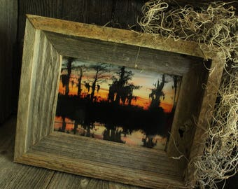 Framed Swamp Silhouette Sunset in Manchac Swamp Louisiana, Rustic Wooden Frame, Home Decor, Haunted Cypress Studios Photography, 4X6
