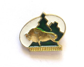 SALE, Bison, Animal, Soviet Children's badge, Vintage collectible badge, Soviet Vintage Pin, USSR, 1980s