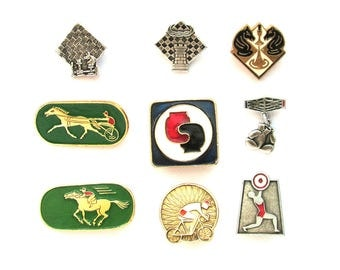 Kinds of sport, Soviet Badge, Pick from Set, Sport, Chess, Boxing, Horse Racing, Vintage metal collectible badge, Soviet Pin, Made in USSR